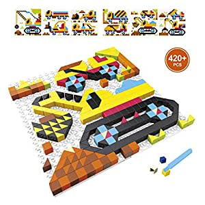 Building Blocks Set, PinSpace DIY Educational Learning Construction Games Fine Motor, 420 Pieces 6 Engineering Models Excavator Truck Crane Concrete Mixer Toys for Kids 4 Years and Up