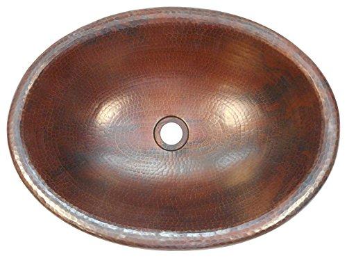 Oval Bath Sink (SimplyCopper 19 x 14 Oval Copper Bath Sink Self Rimming Drop-In or Vessel Sink)