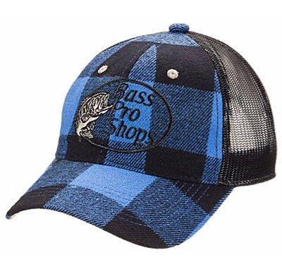 Bass Pro Shops Flannel Hat - Black and Blue, One Size Fits Most