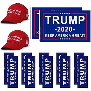 bb315beb LITA Donald Trump Flag 2020 Trump Make America Great Again Hat and Keep  America Great Bumper Stickers Car for Supporting President Trump-14 pcs