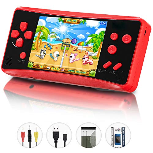 Retro Classic Handheld Game Console Built in 218 Games HigoKids AV Out Retro Childhood Family TV Video Game Controller 3.5 Inches LCD Large Screen 1 USB Charge Handheld Games for Adults-Soul Red