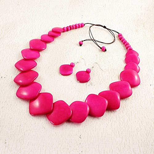 Hot Pink Statement Necklace and Earring Set made of Eco Tagua Nut, Vegetable Ivory Jewelry for Women