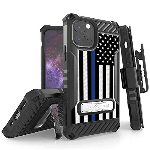 BC Tri Shield Series Case for Apple iPhone 11 Pro (5.8 inch) - Military Grade (MIL-STD 810G-516.6) Impact Resistant Shockproof Stand Cover with Belt Holster and Atom Cloth - Thin Blue Line Flag from Bemz Depot