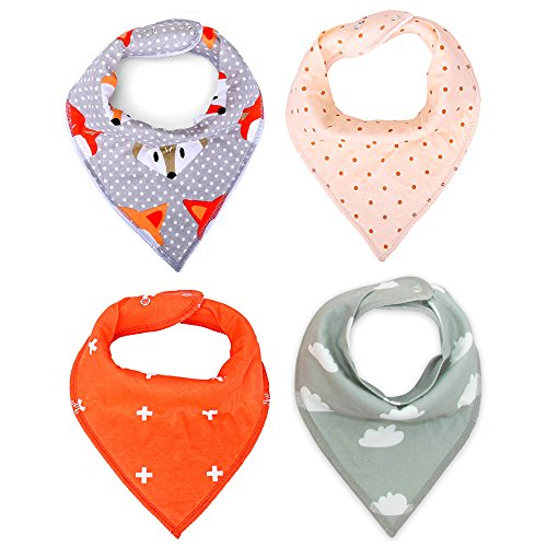 MKONY Baby Bandana Drool Bibs with 2 Snaps,Coral & Gray Set,4-Pack Soft Absorbent Cotton, Cute Baby Gift for Boys & Girls