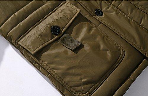Casuale Calda Army Outwear Imbottita Parka Cappotto Green Giacca Lungo Cappuccio Con Inverno Spessa Padded Uomo Zhiyuanan Coat Pelliccia xpP4B