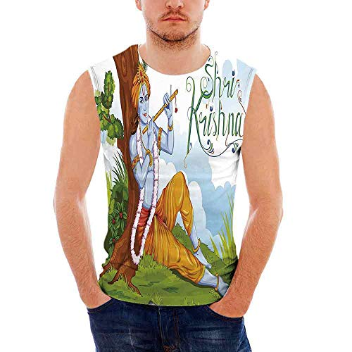Ethnic Mens Comfort Cotton Tank Top,Ethnic Mythology Playing Flute in Forest Tr