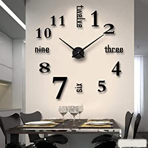 Mirror Surface Decorative Clock 3D DIY Wall Clock for Living Room Bedroom Office Hotel Wall Decoration (Black)