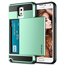 Galaxy Note 3 Case, Vofolen Galaxy Note 3 Wallet Cover Carrying Case Armor Slim Fit Protective Shell Hard PC Case + Soft TPU Bumper Cover with Card Holder Slot for Samsung Galaxy Note 3 (Mint)