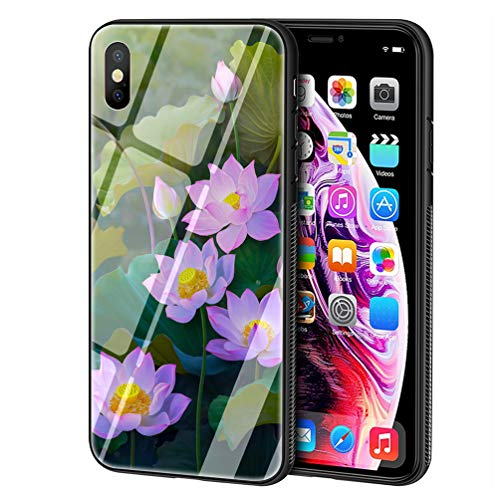 (LBIAO 9H Tempered Glass iPhone Xs Max Cases, LB-89 Purple Flower Rose Lotus Peony Lavender Design Printing Shockproof Anti-Scratch Soft Silicone TPU Cover Phone Case for Apple iPhone Xs Max )