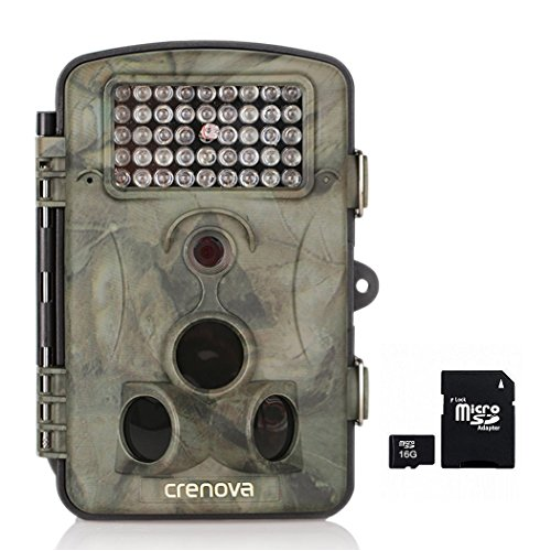 Crenova 12MP 1080P HD Game & Trail Hunting Camera Night Vision up to 65ft with 42pcs 940nm IR LEDs and 120 Wide Angle 2.4 LCD Display0.6s Trigger Time Game Camera(Camera16GB Card)