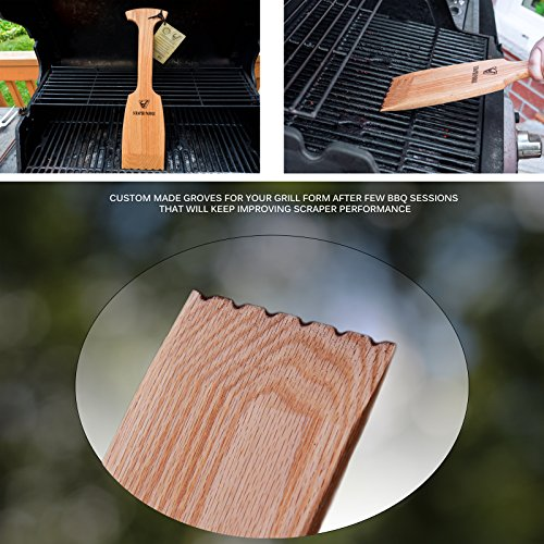 Velesco BBQ Wooden Grill Scraper Cleaner, American Red Oak Wood - Charcoal and Gas - Cleans top and between barbecue grates. Oil & clean grate. Sustainable and safe replacement for wire bristle brush by Velesco (Image #1)