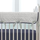 Carousel Designs Navy and Gray Woodland Crib Rail Cover