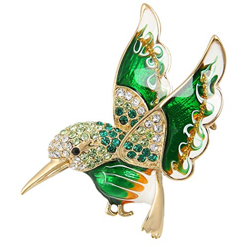 - EVER FAITH Austrian Crystal Enamel Lovely Humming Bird Animal Brooch Pin Green Gold-Tone