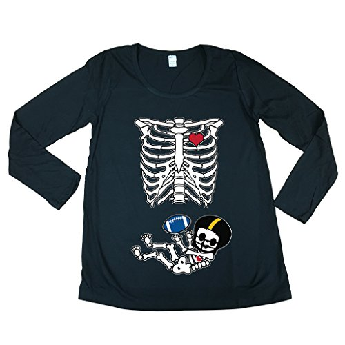 Long Sleeve Baby Skeleton Pittsburgh Football Mom Fan Maternity DT T-Shirt Tee (Large, Black)