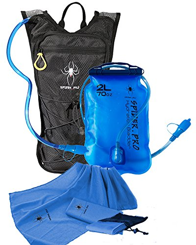 Spider Pro Hydration Pack Lightweight Backpack with 2L Water Bladder INCLUDE BONUS MICROFIBER SPORTS TOWEL Hydration Backpack Great for All Outdoor Sports Adjustable Chest Sizes 27