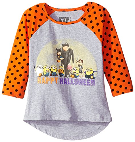 Despicable Me Big Girls' Spooktacular Halloween Raglan T-Shirt, Grey/Orange, Large (Girls Halloween Shirts)