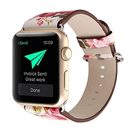 (Iwatch band, Lotus.flower Peony Ink painting Leather Band Bracelet Wristwatch Strap For Apple Watch Series 1/2 (38mm, A))
