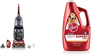 Hoover Power Scrub Deluxe Carpet Washer FH50150 &Expert Pet Carpet Cleaner Solution Formula, 128 oz, AH15075, Red