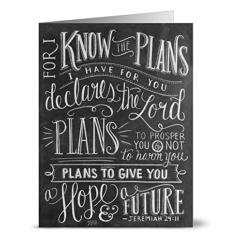 For I Know the Plans - 36 Chalkboard Note Cards - Blank Cards - Kraft Envelopes Included