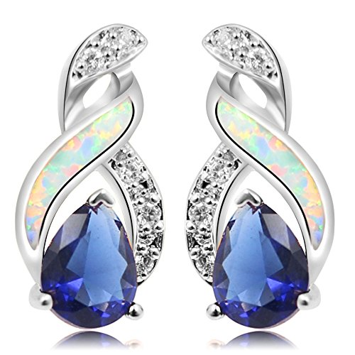 Sinlifu Silver Plating Created Australia Fire Opal Sapphire Tanzanite Topaz Wedding Stud Earring Jewelry