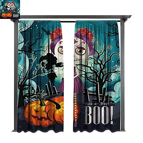 cobeDecor Thermal Insulated Drapes Halloween Girl Sugar Skull Makeup for Lawn & Garden, Water & Wind Proof W108 xL108