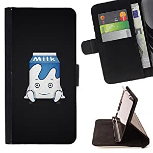 For Sony Xperia Z3 Plus / Z3+ / Sony E6553 (Not Z3),S-type Divertido leche lindo- Dibujo PU billetera de cuero Funda Case Caso de la piel de la bolsa protectora