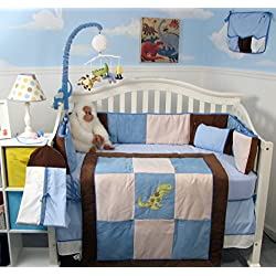 SoHo Blue and Brown Suede Dinosaur Baby Boy's Crib Nursery Bedding Set 13 pieces included Diaper Bag with Changing Pad & Bottle Case