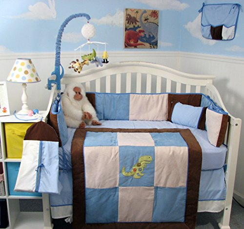 SoHo Blue and Brown Suede Dinosaur Baby Crib Nursery Bedding Set 14 pcs Including Diaper Bag PLUS FREE BABY CARRIER (for limited time offer only) ()