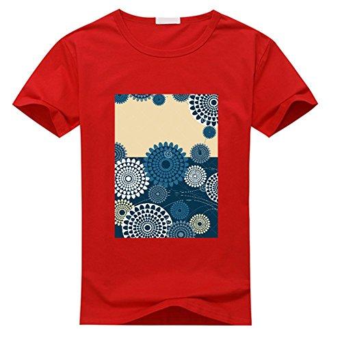 xiaodinding Men's flowers Short Sleeve DIY T Shirt Medium Sky Blue