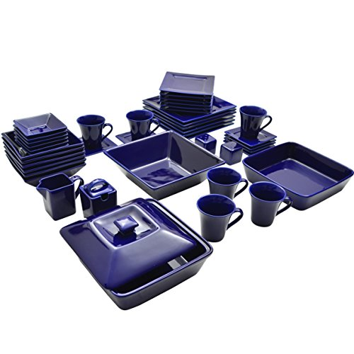 10 Strawberry Street Square 45 Piece Dinnerware Set, Cobalt