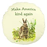 Bunny Rabbit Make America Kind Again Round Decorative Pillow for Kids Room Decor Small Throw Pillow with Insert
