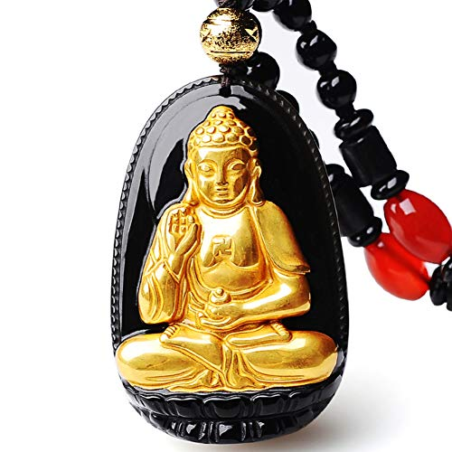 EASTCODE Charming 18K 999 Pure Yellow Gold Inlay Natural Obsidian Black Jade Buddha Handwork Carving Pendant Necklace ...