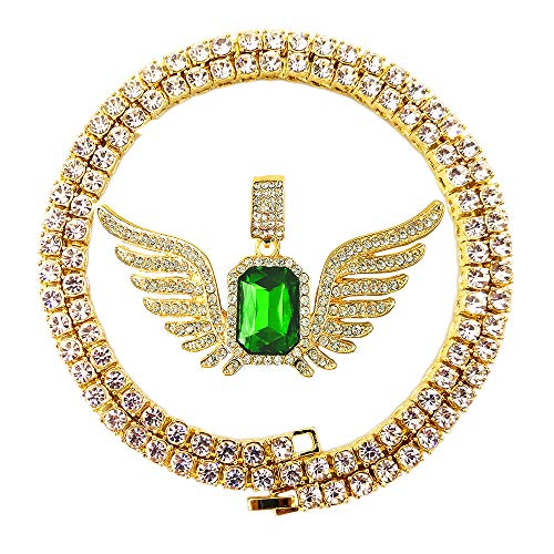 (HH Bling Empire Mens Celebrity Style Hip Hop Gold Synthetic Ruby Emerald Sapphire Pendant Necklace (5mm Tennis & Flying)