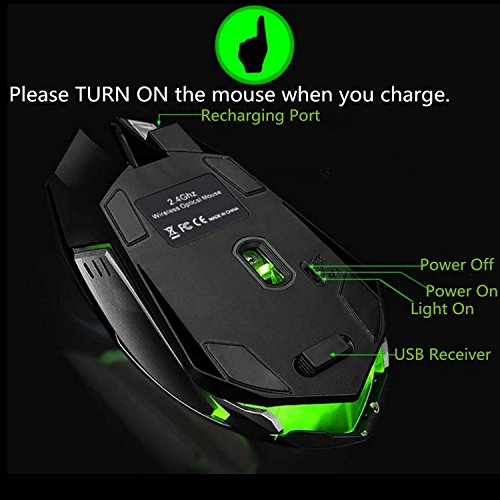 Wireless Gaming Mouse, VEGCOO C8 Silent Click Wireless Rechargeable Mouse with Colorful LED Lights and 2400/1600/1000 DPI, 1000mAh Lithium Battery for Laptop and Computer (C9 Black)