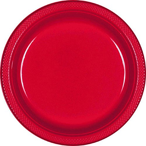 Amscan Party Perfect Vibrant Round Luncheon Plates (20 Piece), Apple Red, 9 x 9