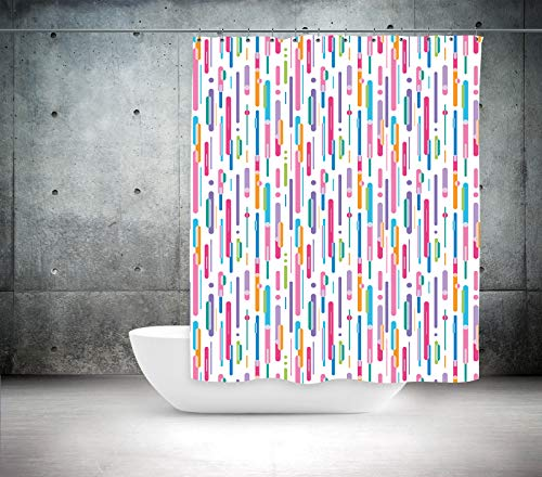 (American Bath Linen ABL Colorful Rain Abstract Print Shower Curtain. Size 47
