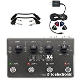 ditto machine - TC Electronic Ditto X4 Looper Guitar Pedal - INCLUDES - Blucoil 9V Replacement Power Supply + 4 Pack of Guitar Picks + 2 Hosa 6 inch Molded Right-Angle Guitar Patch Cables