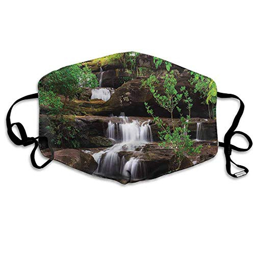 Waterfall Dust Mouth Mask Rock Stair in Waterfall for Men and Women W4