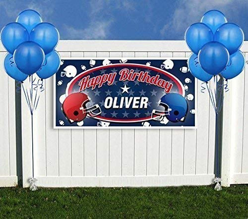 Football Party Red and Blue Personalized Birthday Banner Decoration