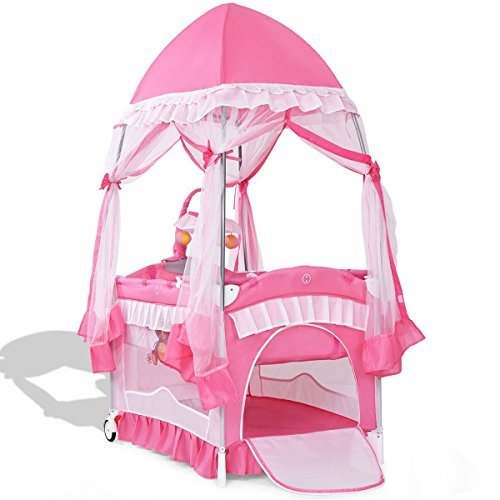 Svitlife Portable Baby Playpen Crib Cradle Carring Bag Classic Pink Lovable Comfort Luxury Mosquito Net