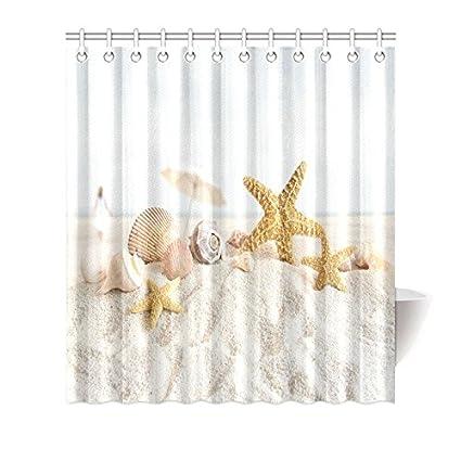 InterestPrint Sea Shells And Starfish Decor Shower Curtain Beach Seashells Nautical Ocean Seaside Seascape Coastal