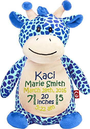 Personalized Stuffed Blue Giraffe with Embroidered Baby B...