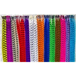 Lvcky Synthetic Hair Extension Kits with 52 Synthetic Assorted Colors Stick Tip Hair Extensions, 100 Beads, Pliers and Hook (Bright & Pretty Mixed Colors)