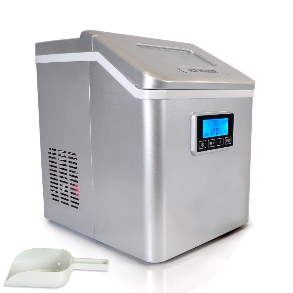 NutriChef AZPICEM70 Countertop Ice Maker Digital Water Tappi, Silver