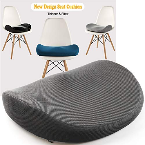 Japanese Seat Cushion - Advanced Comfort Memory Foam, Washable, Non Slip Cushion Orthopedic Design to Relieve Back Sciatica Coccyx, and Tailbone Pain (Gray)