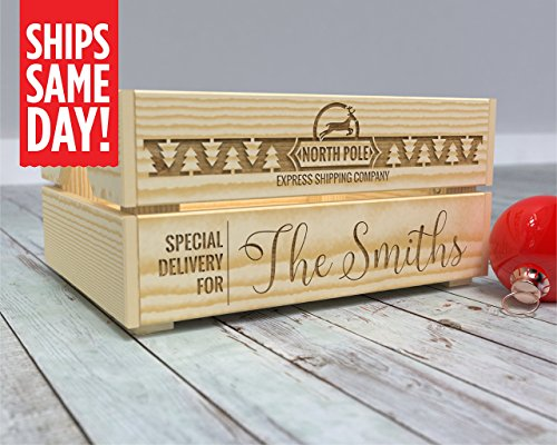 Christmas Eve Box, Christmas Box, Christmas Eve Crate, Kids Crate, Xmas Eve, Gift from Santa, North Pole Delivery, North Pole Express, Personalized, Santa Surprise -CR16 from Canoe Baby Crafts