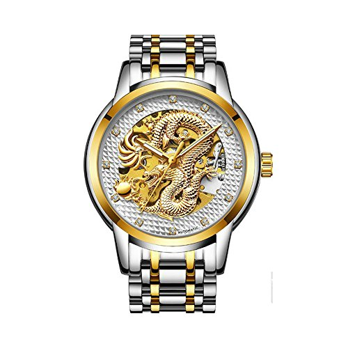 Weicam Men's Luxury Gold Dragon Carved Dial Diamond Automatic Skeleton Mechanical Watch Casual Waterproof Stainless Steel Band Quartz Sport Wristwatch ()