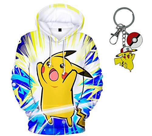 Pikachu Hoodie For Men (23Vision Unisex 3D Print Pokemon Hoodies Women Men Pullover Sweatshirt with Free Pikachu Keychain (M,)
