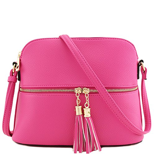 Pink Cross Body (Tassel Zipper Pocket Crossbody Bag Fuchsia)
