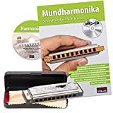 CASCHA Harmonica in C Major with Case and Cleaning Cloth Set with text book Silver